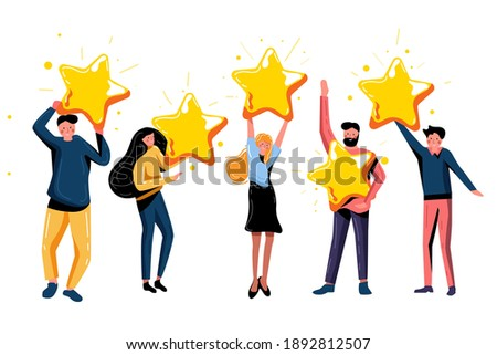 Five star rating positive feedback and high evaluation level. Happy satisfied people holding five gold star giving positive feedback and good review, supporting product or service vector illustration