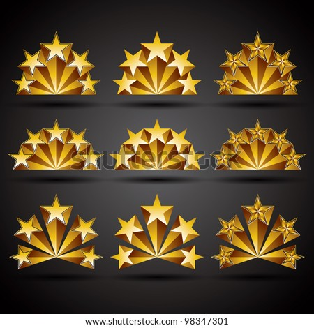 Five stars classic style icons set, vectors collection.