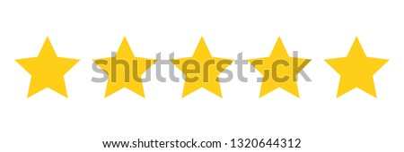 Five stars customer product rating review flat icon for apps and websites - Vector