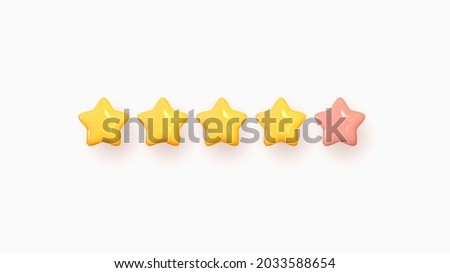 Five stars, glossy yellow and pink colors. Customer rating feedback concept from the client about employee of website. Realistic 3d design of the object. For mobile applications. Vector illustration