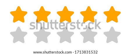five stars icon cute isolated on white background, chic 5 star shape yellow orange, illustration simple star rating symbol, clip art 5 star for logo, pentagram five star for decoration ranking award