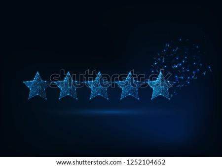 Five stars rating concept. Client satisfaction, luxury service evaluation. Futuristic low polygonal design vector illustration.