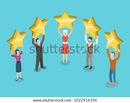 Five stars rating flat isometric vector concept. People are holding stars over the heads.