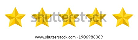 Five stars rating icon. Five stars customer product rating. Vector illustration. Premium quality. Golden stars