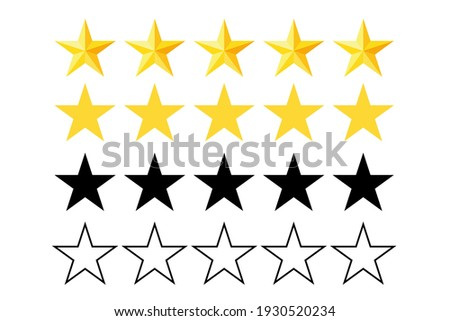 Five stars rating icon. Stars collection. Star icon. Star vector icons Vector illustration