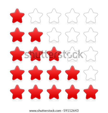 Five stars ratings web 2.0 button. Red and gray shapes with shadow and reflection on white