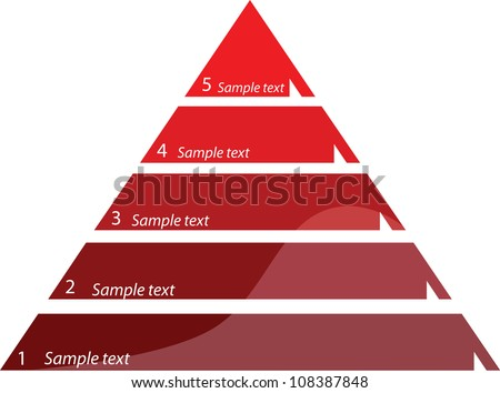 Five steps triangle diagram, vector illustration