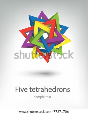 five tetrahedrons - stock vector