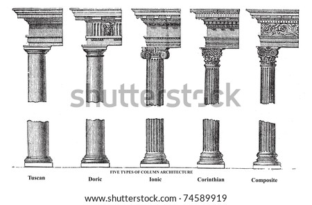 Five types of old column architecture old engraving. Vector, engraved illustration showing a Tuscan, Doric, Ionic, Corinthian and Composite Greek and Roman column - stock vector