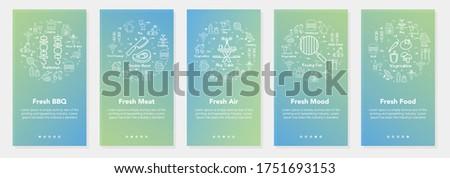 Five vertical bbq and summer picnic banners, vector- Fresh BBQ, Fresh Meat, Fresh Air, Fresh Mood, Fresh Food