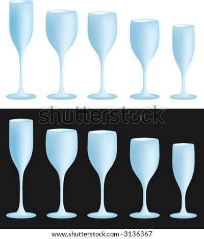 Five vine glasses on black and white background - stock vector