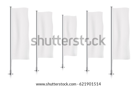 Five white vertical banner flags, standing in a row. Banner flag templates isolated on background. Vertical flags realistic mockup.