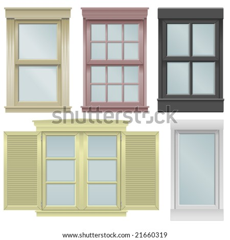 Five window vector illustrations