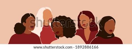 Five women of different ethnicities and cultures stand side by side together. Strong and brave girls support each other and feminist movement. Sisterhood and females friendship. Vector illustration