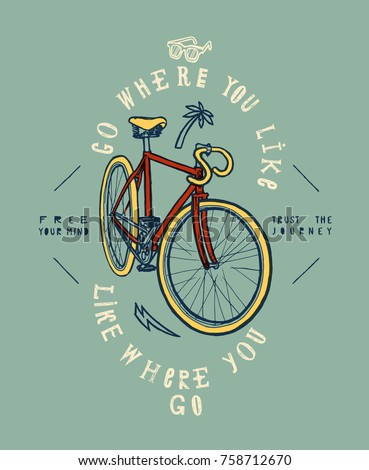 fixie bike grunge print. go where you like.