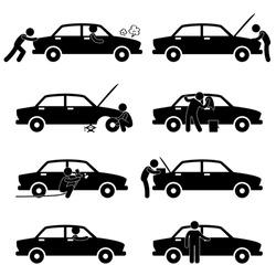 Fixing Checking Washing Repairing Painting Car Changing Tyre Icon Symbol Sign Pictogram