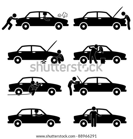 Fixing Checking Washing Repairing Painting Car Changing Tyre Icon Symbol Sign Pictogram