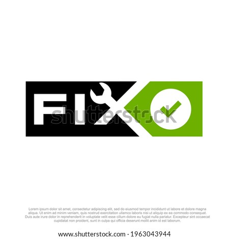 Fixing logo and repairing vector sticker or maintenance logo  design. Repairing shop logo design template   Foto stock ©