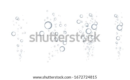 Fizzing air bubbles stream. Soda pop. Champagne. Soap Water Bubbles. Water bubbles. Realistic clear Water drops realistic set  for your design.