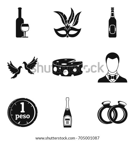 fizzy drink icons set simple