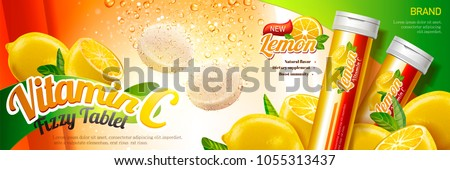 Fizzy tablet ads, healthy supplement with rich vitamin C and bubbles in 3d illustration