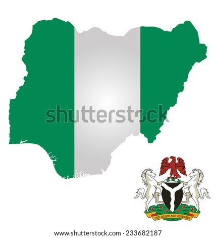 Flag and coat of arms of the Federal Republic of Nigeria overlaid on outline map isolated on white background