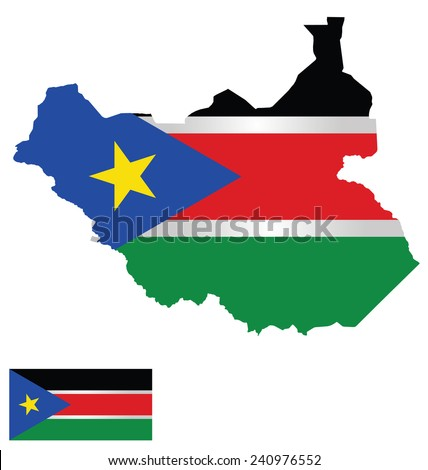 Flag and coat of arms of the Republic of South Sudan overlaid on detailed outline map isolated on white background national motto Justice Liberty Prosperity