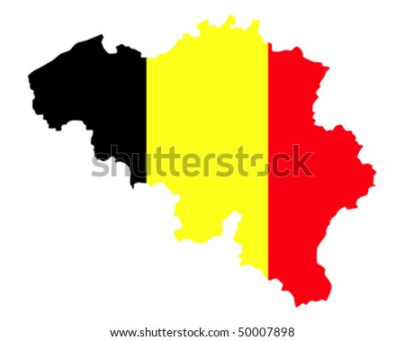 flag and country border line of belgium