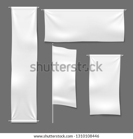 Flag and hanging banners. White advertising blank textile banner fabric horizontal cloth sign, textile ribbons vector template set