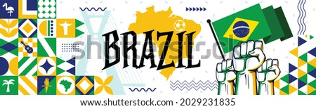 Flag and map of Brazil with raised fists. National day or Independence day design for Brazilian celebration. Modern retro design with abstract icons. Vector illustration.