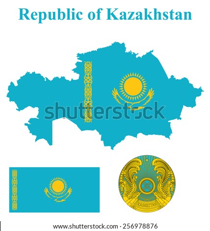 Flag and national coat of arms of the Republic of Kazakhstan overlaid on detailed outline map isolated on white background