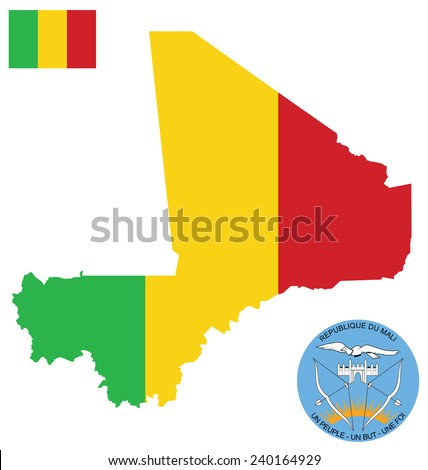 Flag and national coat of arms of the Republic of Mali overlaid on detailed outline map isolated on white background French translation One People One Goal One faith