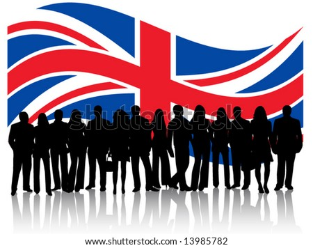 Flag and people - stock vector