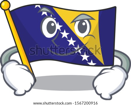flag bosnia mascot cartoon