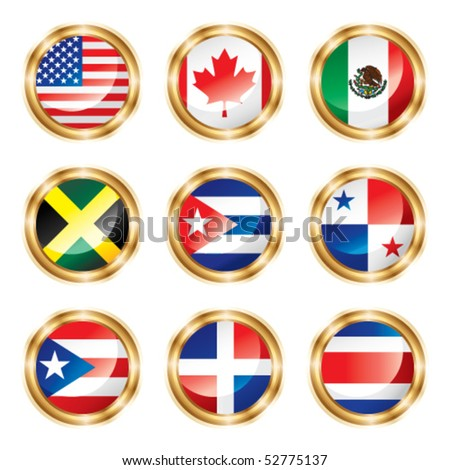 Flag buttons North & Central America. Vector, each in separated layer.