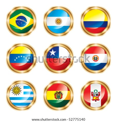 Flag buttons South America. Vector, each in separated layer.