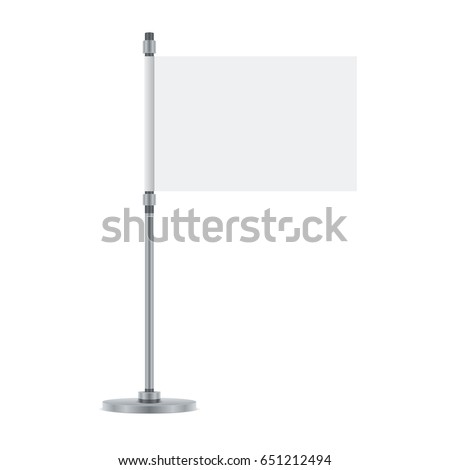 Flag design. Blank flag on the metallic pole. Isolated template for your designs. Vector illustration. #651212494