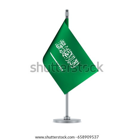 Flag design. Saudi Arabian flag hanging on the metallic pole. Isolated template for your designs. Vector illustration.