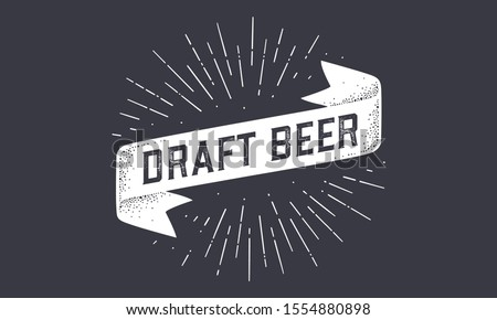 Flag Draft Beer. Old school ribbon flag banner with text Draft Beer. Ribbon flag in vintage style with linear drawing light rays, sunburst and rays of sun, text draft beer. Vector Illustration