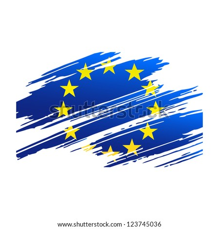 Flag European Union in the form traces brush isolated vector