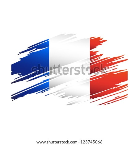 Flag France in the form traces brushisolated vector