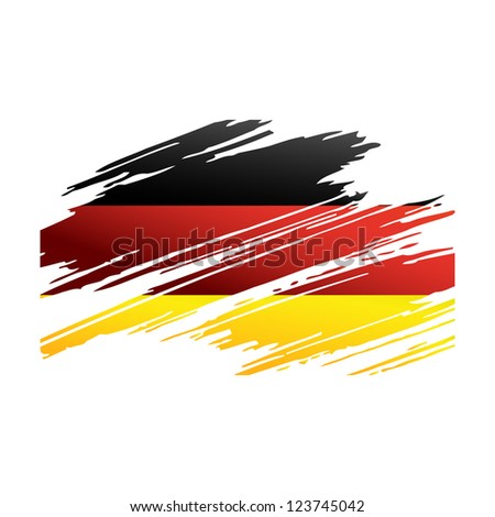 Flag Germany in the form traces brush isolated vector - stock vector