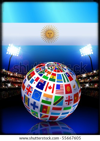 flag globe on argentina stadium