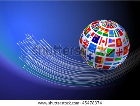 Flag Globe with Fiber Optic Background Original Vector Illustration EPS10