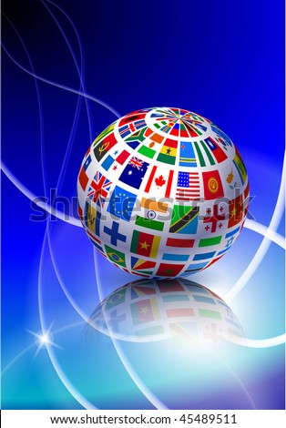 Flag Globe with Light Streak Background Original Vector Illustration EPS10