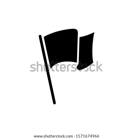 Flag icon isolated in black flat design on white background, Vector illustration, Eps 10
