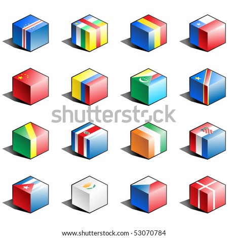 china flag icon. stock vector : Flag icon set