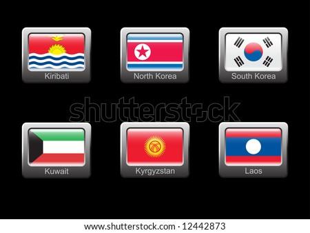 the north korean flag. stock vector : Flag icon set