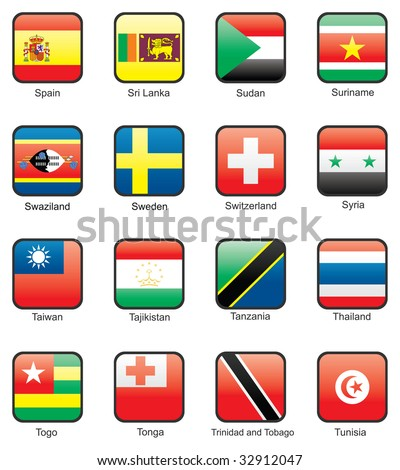 Flag icon set (part 11) Spain, Sri Lanka, Sudan, Surinam, Swaziland, Sweden, Switzerland, Syria, Taiwan, Tajikistan, Tanzania, Thailand, Togo, Tonga, Trinidad and Tobago, Tunisia