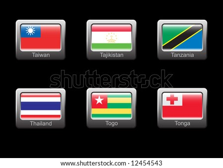 Flag icon set (part 29 – Taiwan, Tajikistan, Tanzania, Thailand, Togo, Tonga)